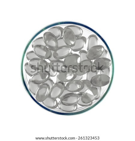 Various color of soft gelatin capsule medicine on white background as medicine icon. - stock photo