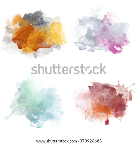 Various Colorful Watercolor Blobs. Set of Watercolor Splashes for design. Beautiful Paper Watercolor Backdrops with colorful blobs and place for text. Original design for posters and banners. - stock photo