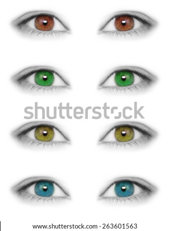 Various colors eyes isolated on white background - stock photo