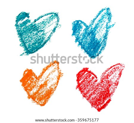 various colors of sketch shape of hearts on white background - stock photo