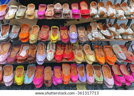 Various Colourful Leather Ballet Flats Shoes - stock photo