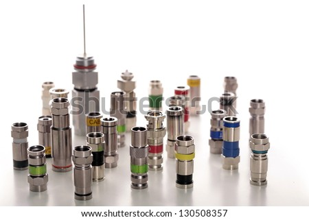 Various connectors for coaxial cables - stock photo