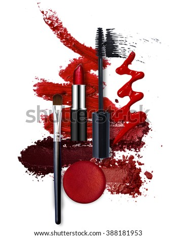 various cosmetic red fashion theme - stock photo