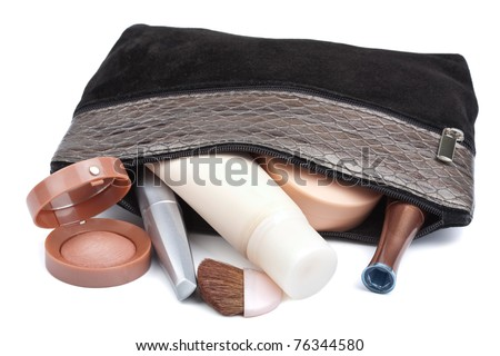 various cosmetics in bag isolated - stock photo