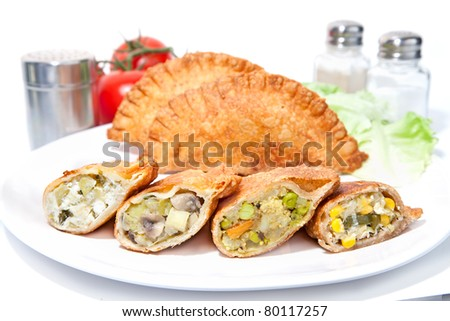 Various Crispy vegetable Samosas  serve on plate - stock photo