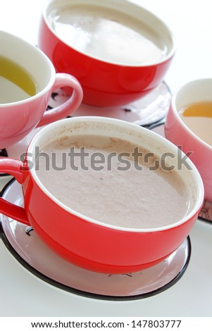 Various cups of tea and coffee - stock photo