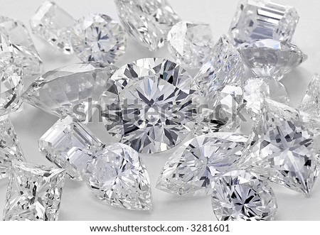 Various cut Cluster of Diamonds - stock photo