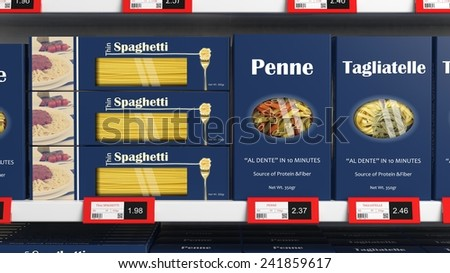 Various 3D pasta boxes on supermarket shelve - stock photo