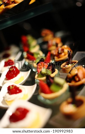 various delicious of appetizer for wedding ceremony,Very small depth of field - stock photo