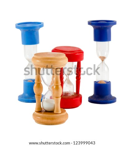 various different retro sand glass clocks timers isolated on white background. - stock photo