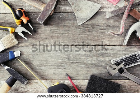 Various DIY tools on the table - stock photo
