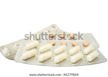 Various drugs isolated on white background - stock photo
