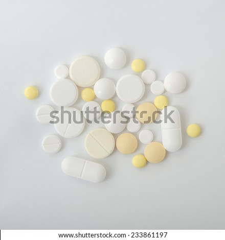 Various drugs, pills, tablets, medication and vitamins - stock photo