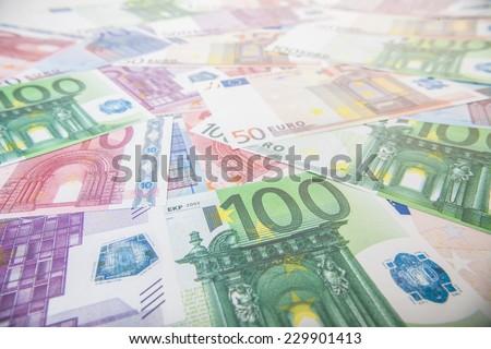 Various euro notes background texture - stock photo