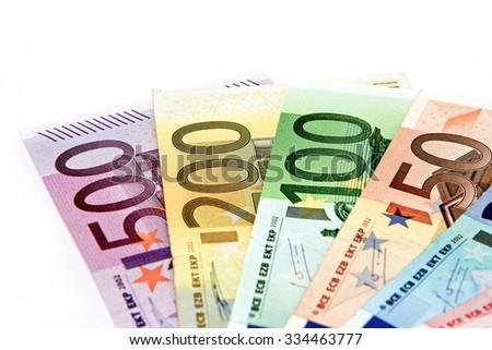 various Euro notes, money fan - stock photo