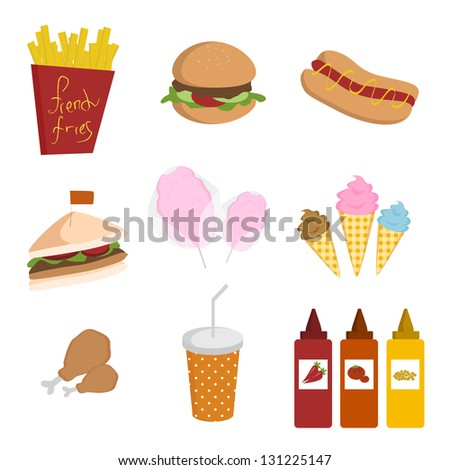 Various fast foods - stock photo