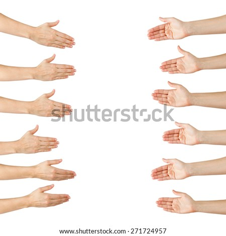 Various female hands offering handshake isolated on white background, copy space, clipping pass. Closeup picture of woman shaking hands.  - stock photo