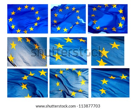 Various fragments of EU flag on a white background (isolated) - stock photo