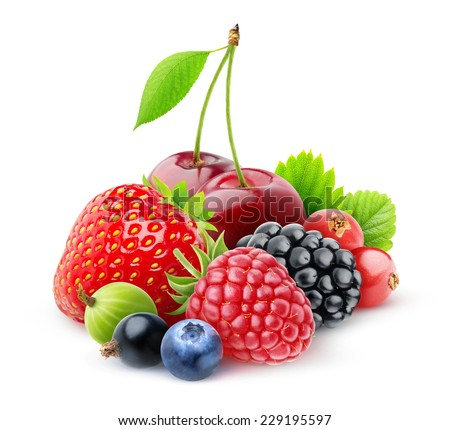 Various fresh berries over white background, with clipping path - stock photo