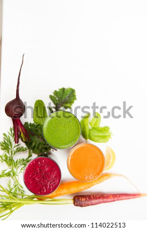 Various Freshly Squeezed Vegetable Juices Isolated on White - stock photo