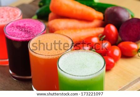 various Freshly Vegetable Juices - stock photo