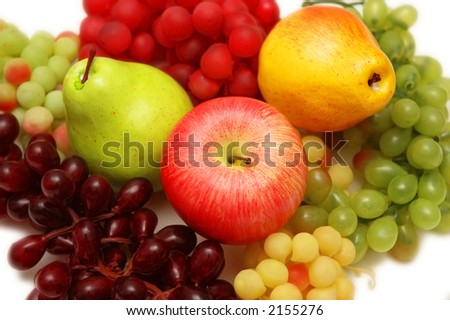 Various fruits  - grapes, apple, peaches - stock photo