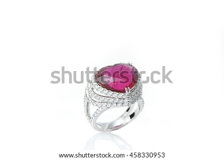 Various gemstone withe Jewelry ring isolated on white background - stock photo