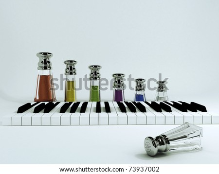 Various herbs and spices for your meals - it's like a piece of music, only in the food. - stock photo