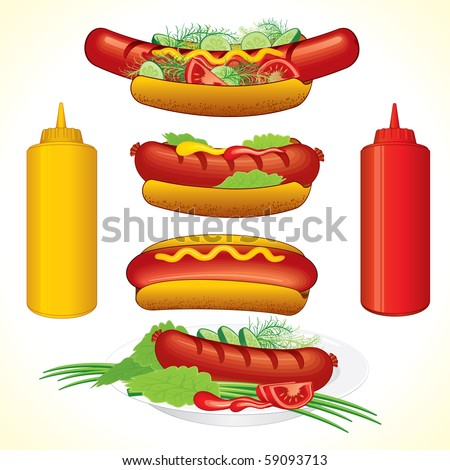 Various Hot dogs illustrations (id=58241584 vector) - stock photo