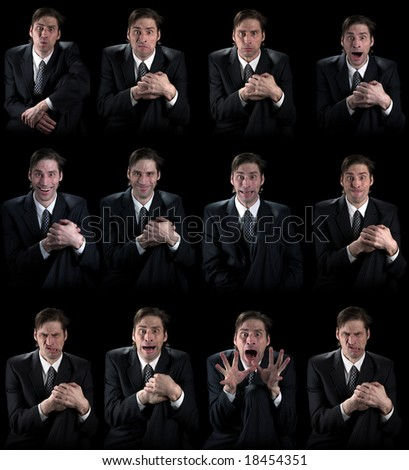 Various human emotions on a white background - stock photo
