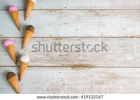 various ice creams top down view for background purpose - stock photo