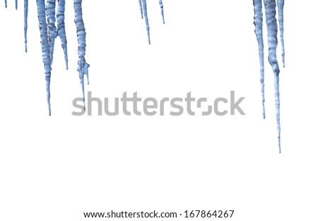 various icicles design elements on white background - stock photo