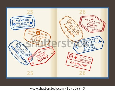 Various imaginary colorful stamps (not real) on passport pages. International business travel concept. Frequent flyer visas. - stock photo