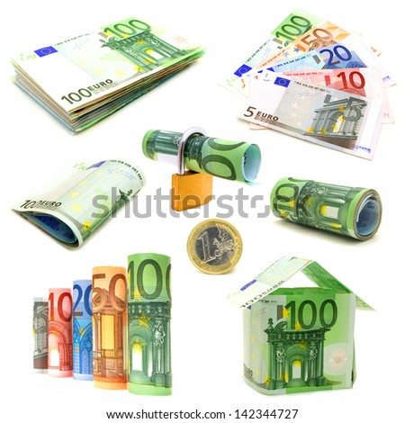 Various isolated Euro currency arrangements - stack, fan, rolled, house, lock, etc - stock photo