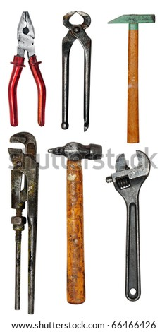 Various isolated tools, isolated on a white background - stock photo