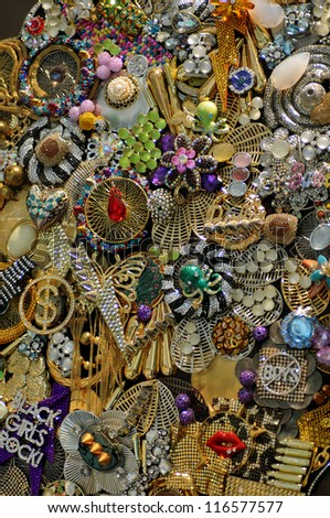 Various jewellery fashion accessories as background - stock photo