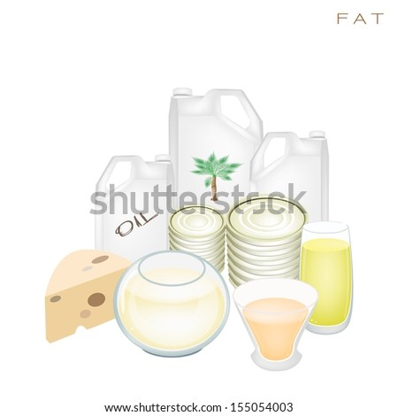 Various Kind of Fat Products to Improve Nutrient Intake and Health Benefits, Fat Is One of The Main Types of Nutrients.  - stock photo