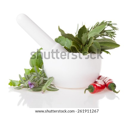 Various kind of fresh herbs in ceramic grinder. Isolated on white background - stock photo