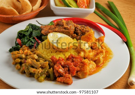 Various kind of indonesian with rice - stock photo