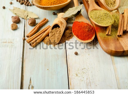 Various kind of  Spices on wooden spoons. Selective focus - stock photo