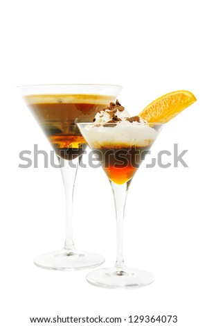 Various kinds of coffee cocktails isolated on white - stock photo