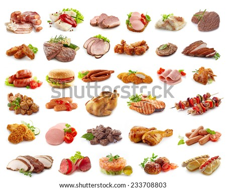 various kinds of meat products isolated on white - stock photo
