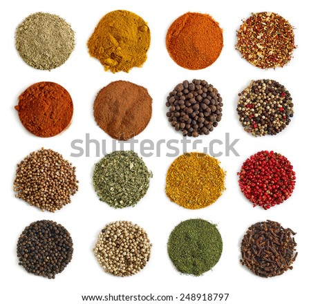 various kinds of spices isolated on a white background - stock photo