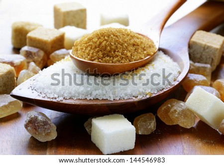 Various kinds of sugar, brown, white and refined sugar - stock photo