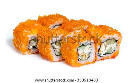 Various kinds of sushi and sashimi on white background - stock photo