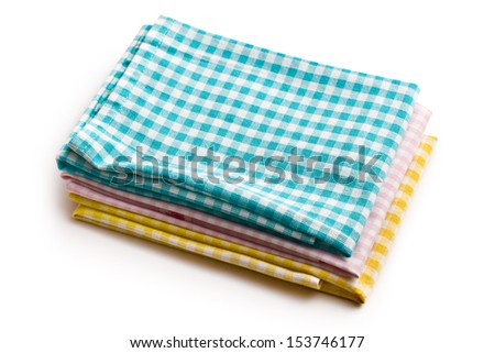 various kitchen towels on white background - stock photo