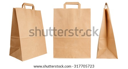 Various kraft paper bags isolated on white background - stock photo