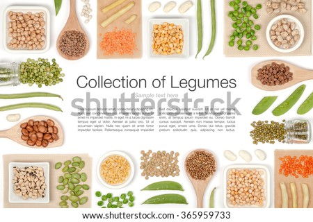 various legumes on white background top view - stock photo