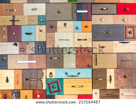 Various little colorful drawers - interior detail. - stock photo