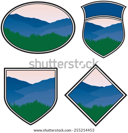 Various Logos with a Mountain Landscape - stock photo